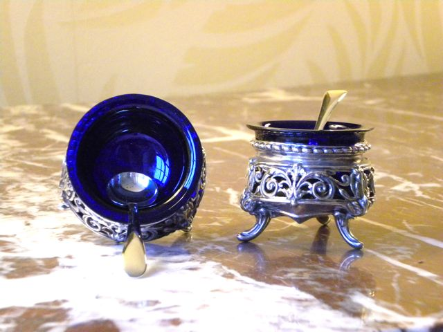 Pair of vintage silver and cobalt blue salt cellars