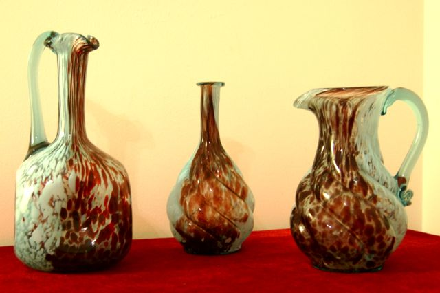 Early 20th century set of Verre de Clichy decanters and pitcher. Click on photo for more details.  French Cachet © photo