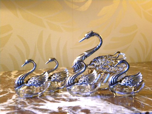 Set of 5 silver and crystal swan salt cellars with moveable wings.