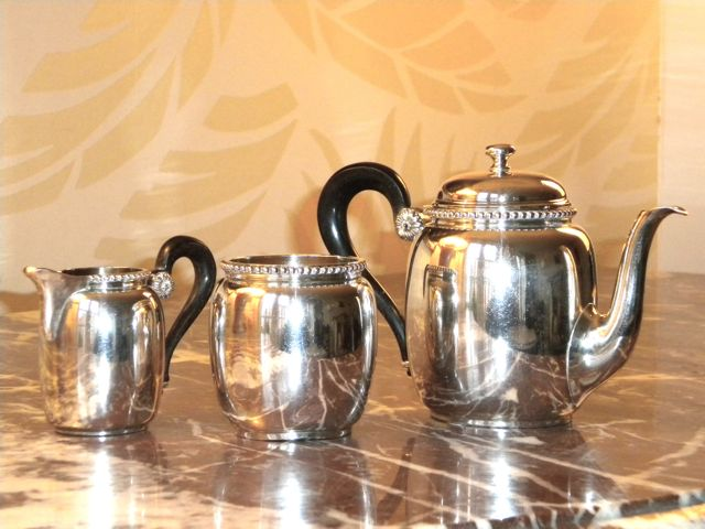 French silver three piece coffee set.